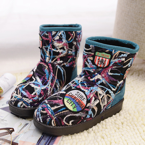 Colorful Wool Knitting Warm Faux Fur Lining Ankle Snow Boots