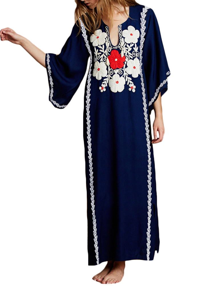Women 3/4 Sleeve Floral Loose Casual Long Maxi Dress
