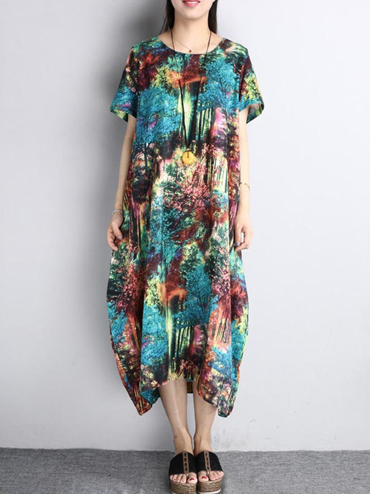 Women Casual Loose Random Print Pockets Short Sleeve Dress