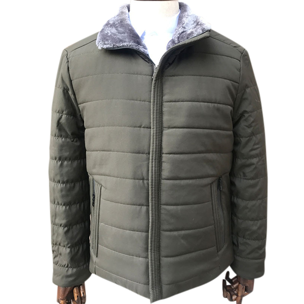 Mens Winter Thick Warm Pure Color Quilted Jacket