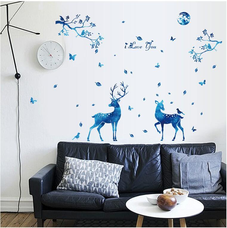 Miico 3D Creative PVC Wall Stickers Home Decor Mural Art Removable Deer Animal Decor Sticker