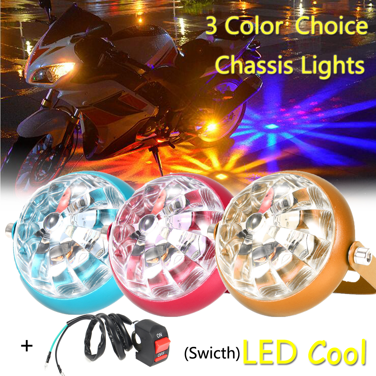 12V Yellow/Red/Blue Color Light+Switch Cool LED Chassis Motorcycle Decoration Lights