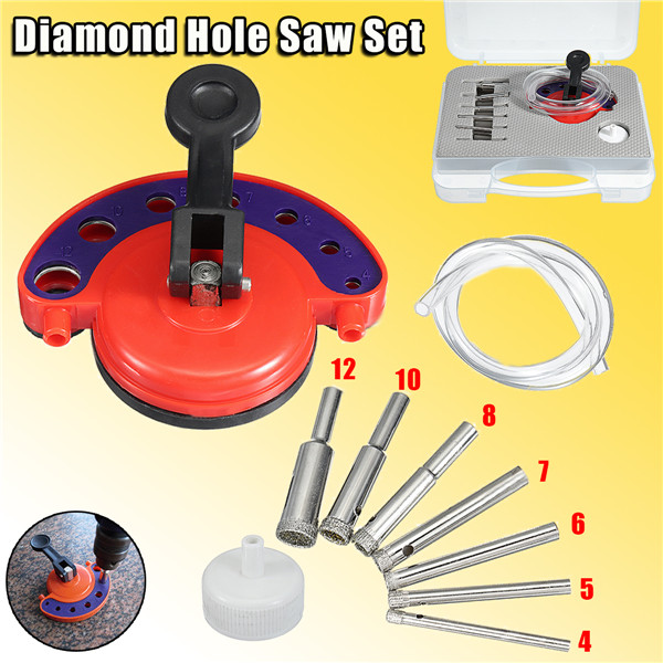 10 in 1 Diamond Hole Saw Cutter Drill Bit Set Tile Drilling 4-12mm for Porcelain Marble Glass