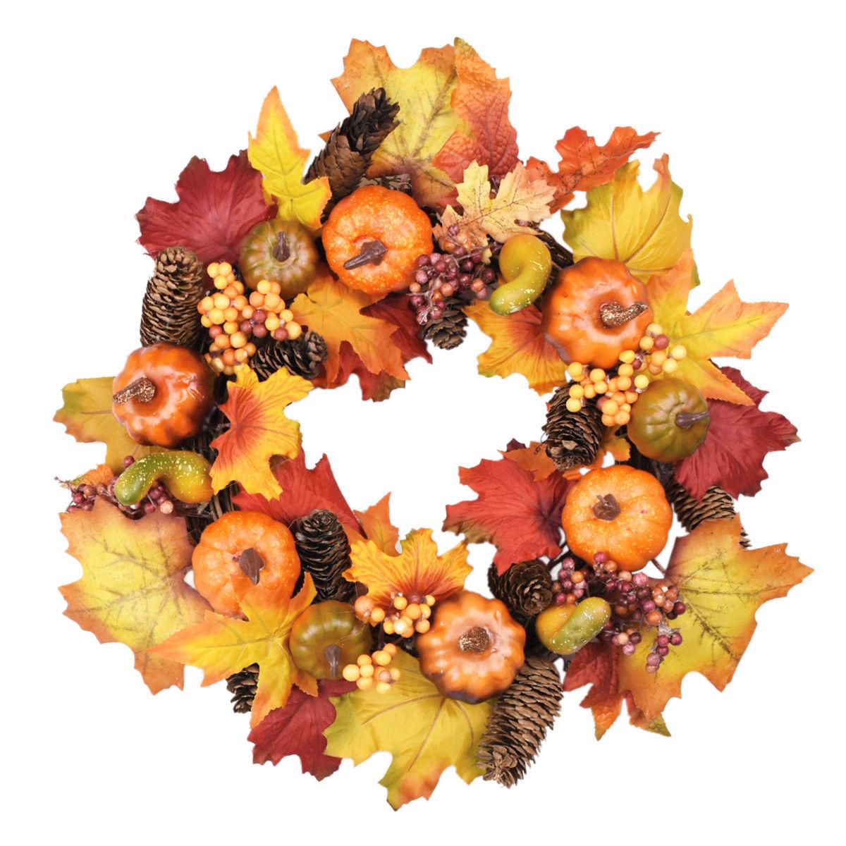 Thanksgiving Maple Leaf Garland Pumpkin Wreath Halloween Christmas Decorations