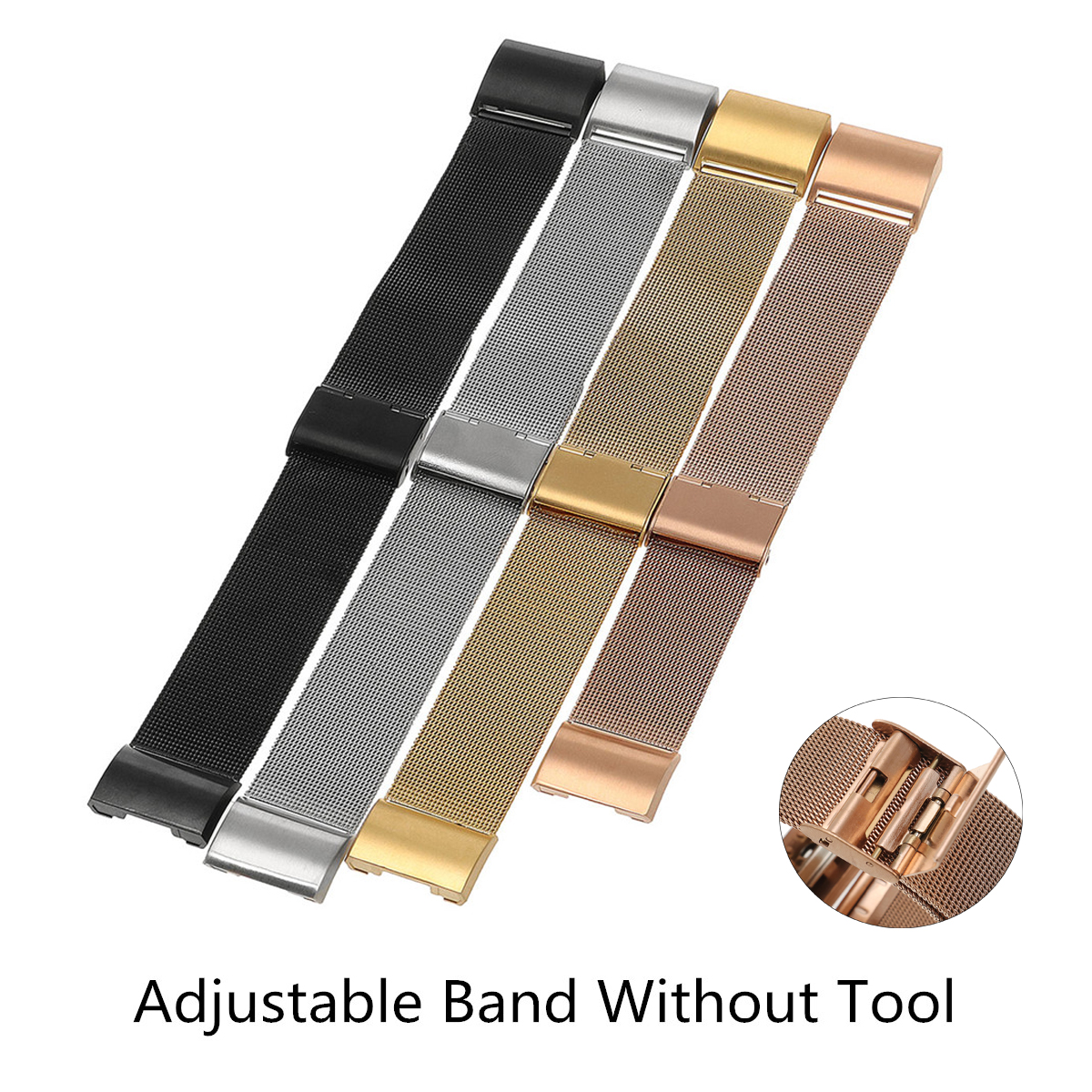 Replacement Milanese Stainless Steel Wrist Band Loop Strap Clasp for Fitbit Charge 2