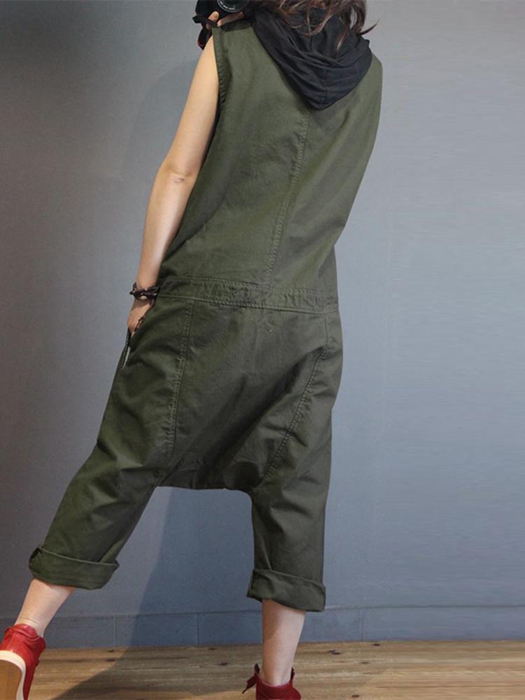 Women Sleeveless V Neck Loose Harem Jumpsuits Overalls