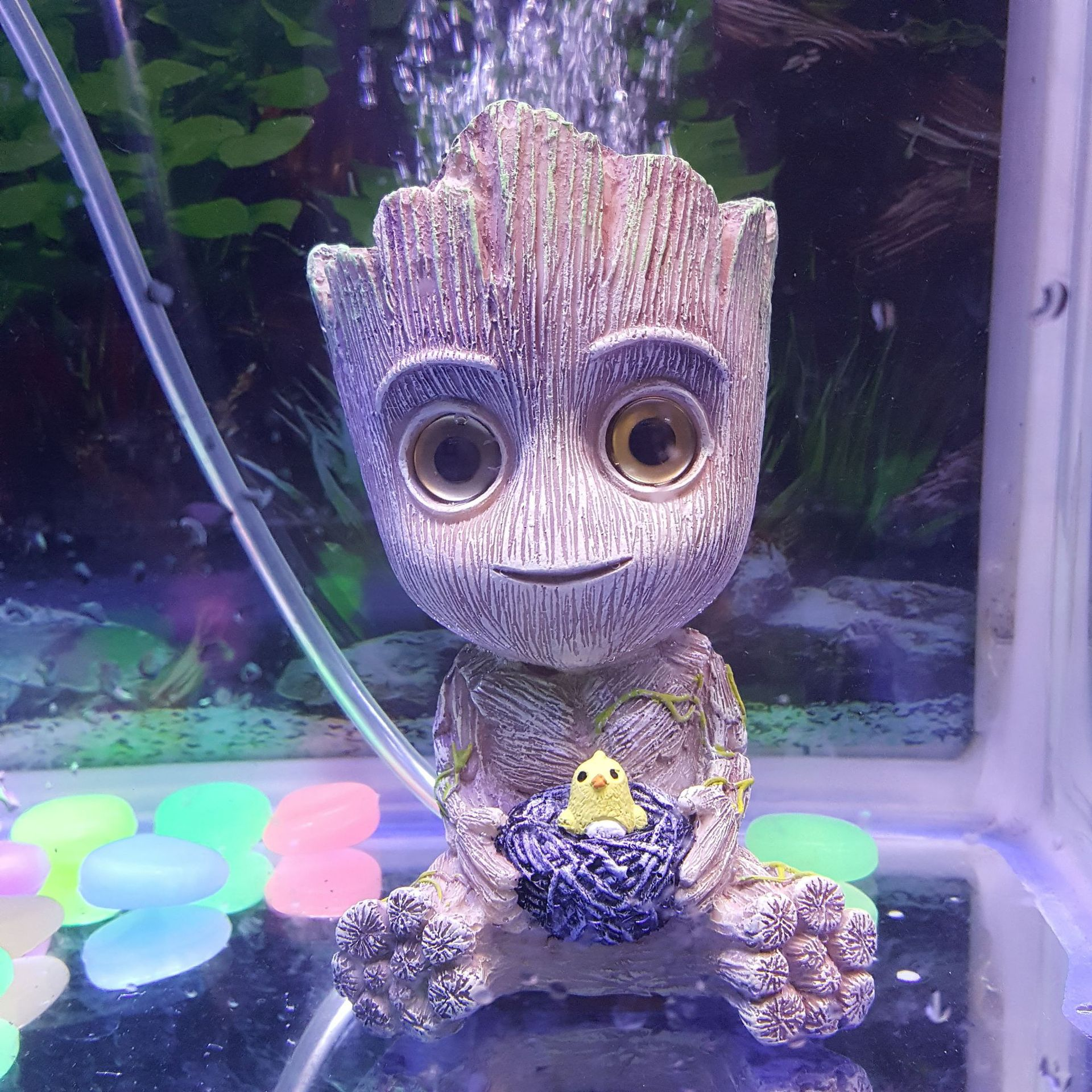 Mini Groot Tree Shape Aquarium Fish Tank Decor Oxygen Pump Air Bubble Stone Air Pump Drive Fish Tank Toy Aquarium Ornament Decor