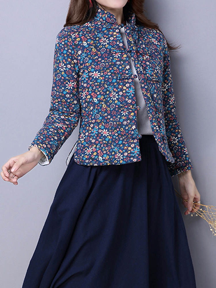 Vintage Printing Button Long Sleeve Women Thick Cotton Padded Shirt