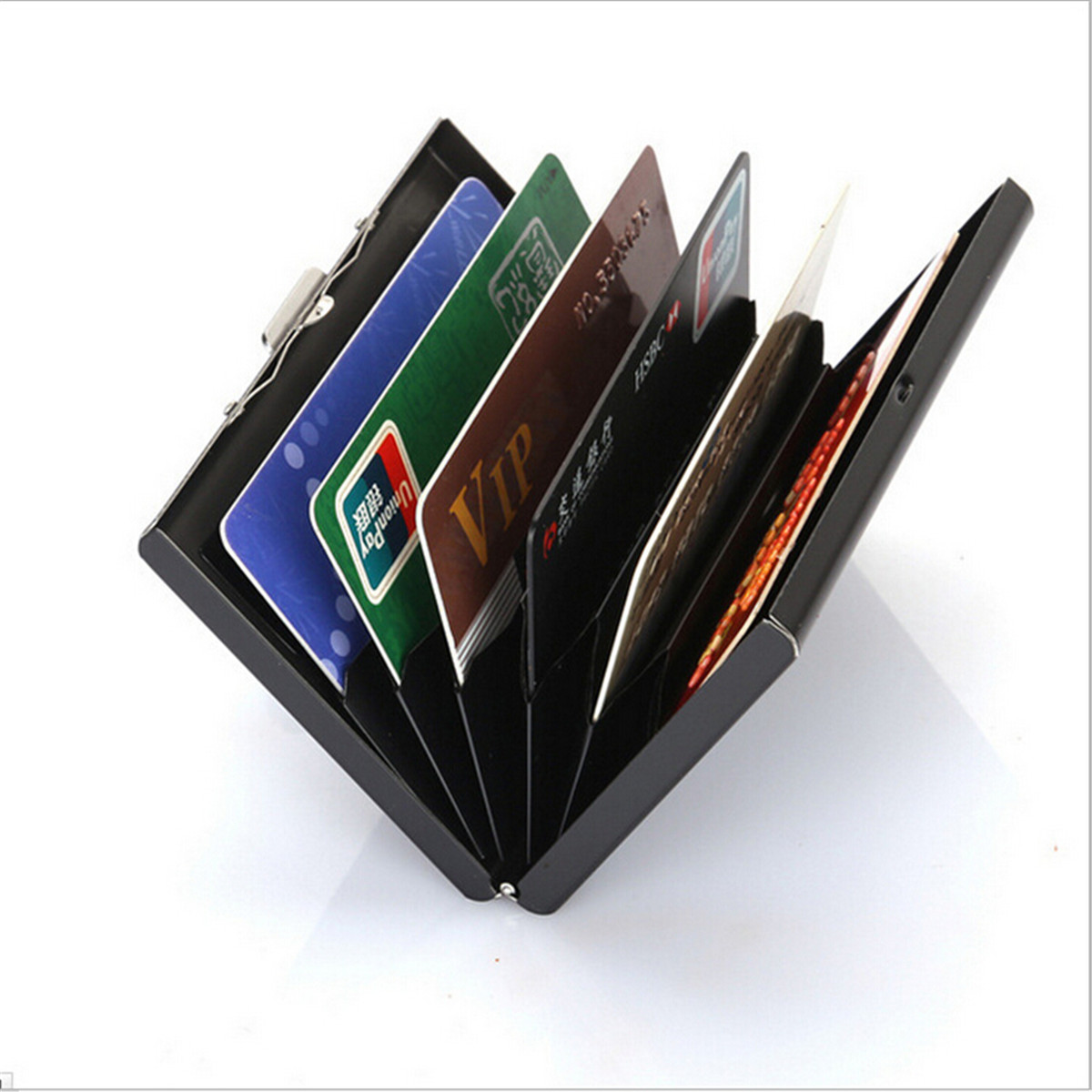 Card Holder Black Stainless Steel ID Credit Pocket Metal Box Case