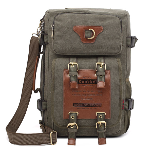 KAUKKO Men's Canvas Black Army Green Shoulder Travel Tactical Backpacks