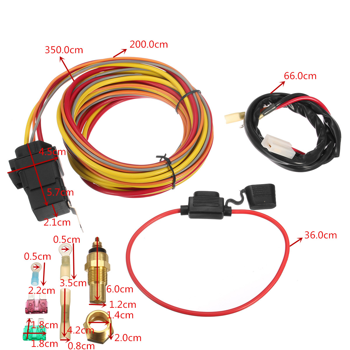 Heavy Duty Dual Electric Fan 40 AMP Relay Wiring Harness Thermostat Sensor Kit