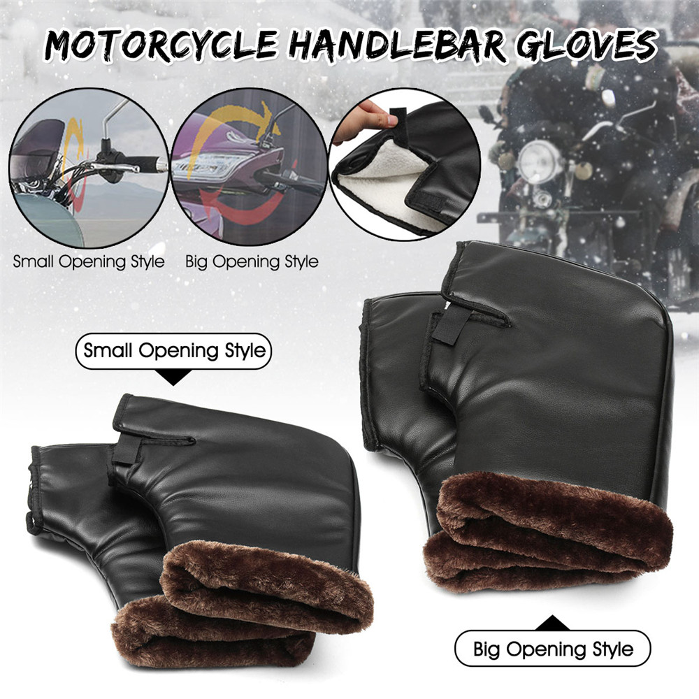 Winter Warm Windproof Motorcycle Motorbike Scooter Handlebar Grip Muffs Gloves