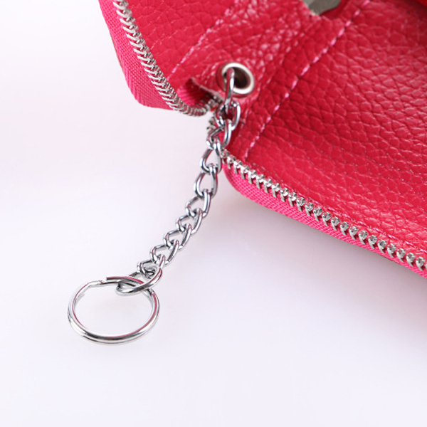 Genuine Leather Zipper Car Key Chain Bags Portable Hook Remote Wallet Bags
