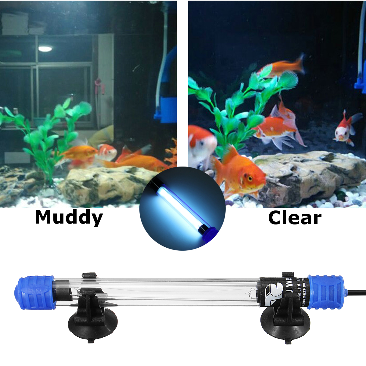 9W/11W Submersible UV Sterilizer Aquarium Fish Tank Pond Light Water Disinfection Treatment