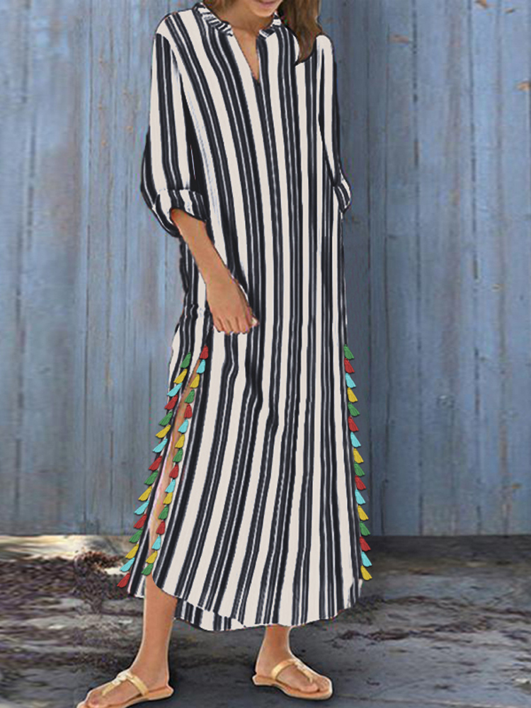 Women Striped Boho Side Slit Tassel Baggy Kaftan Maxi Dress