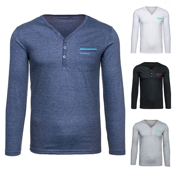 Autumn Spring Casual V-collar Tops Tees Fashion Slim Fit Long Sleeve Solid Color T-shirts