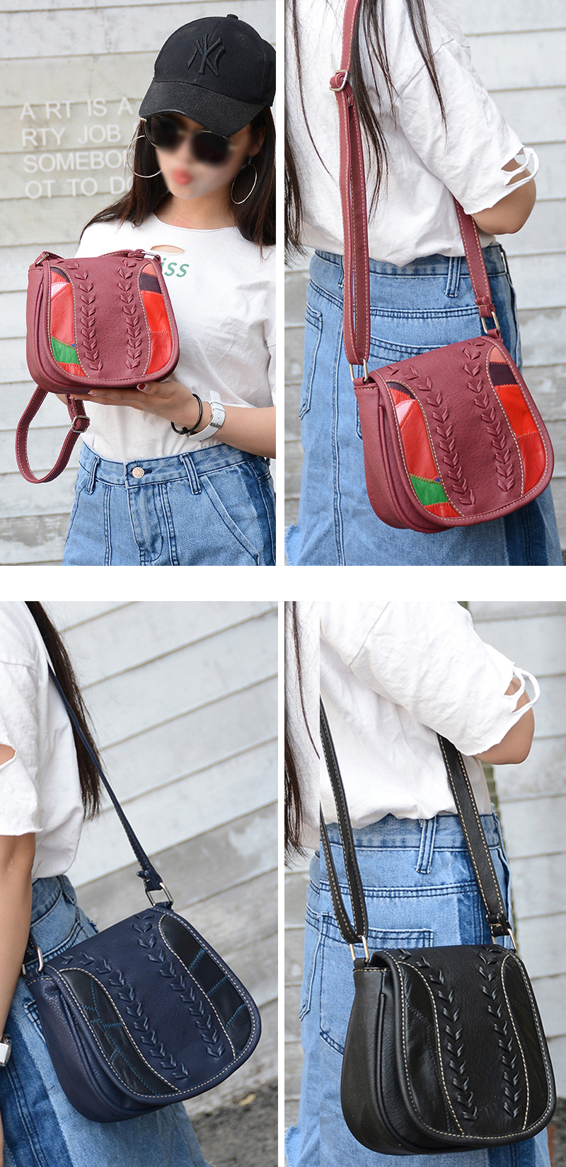 Women Patchwork Crossbody Bag Artificial Leather Vintage Saddle Fashion Shoulder Bag Sling Bag