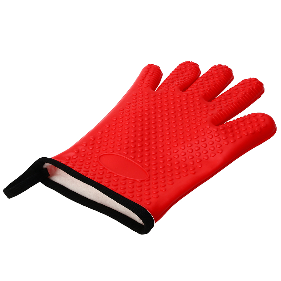 KCASA KC-PG09 1Pc Silicone Cotton BBQ Oven Mitt Microwave Oven Heat Resistant Pot Holder Gloves