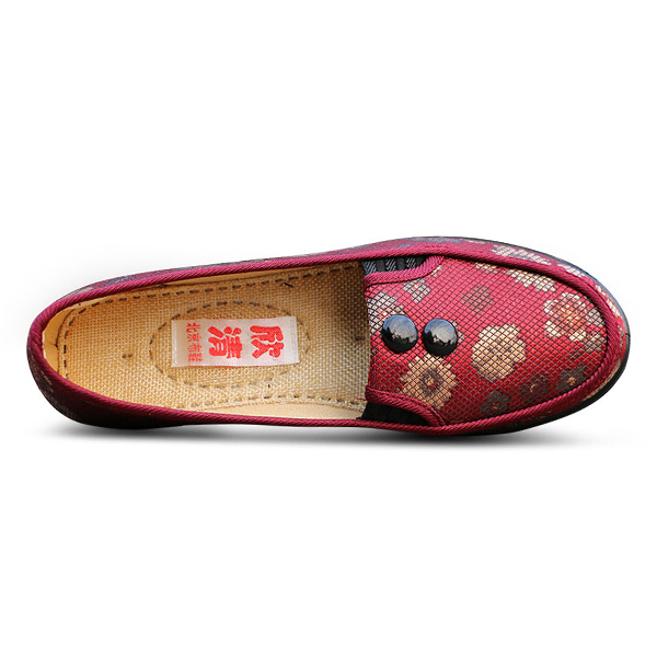 Floral Mesh Breathable Slip On Flat Shoes Round Toe Soft Sole Flats