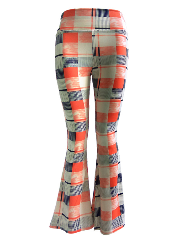 Casual Multi-color Printed Stretch Waist Women Flare Pants