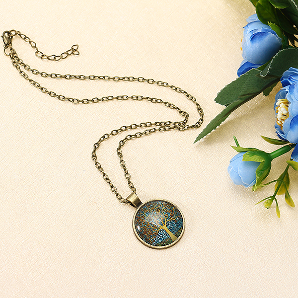 Vintage Glass Round Tree of Life Faith Moonlight Charm Necklace for Women for Men