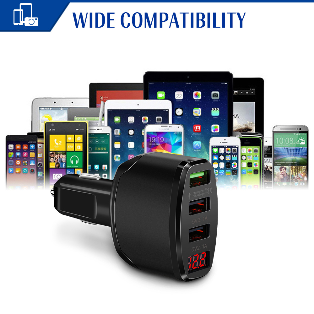 7.2A QC 3.0 Quick Charge Car Charger Adapter 3 USB Ports With LED Voltage Display For Tablet Android