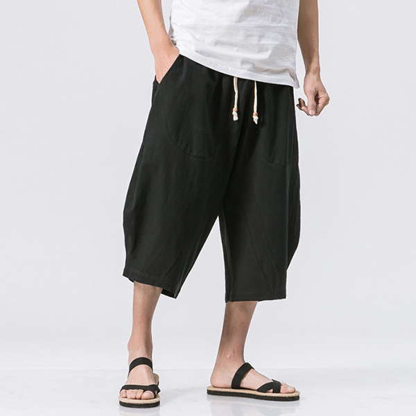 Cotton Linen Baggy Casual Calf Length Antibacterial Shorts