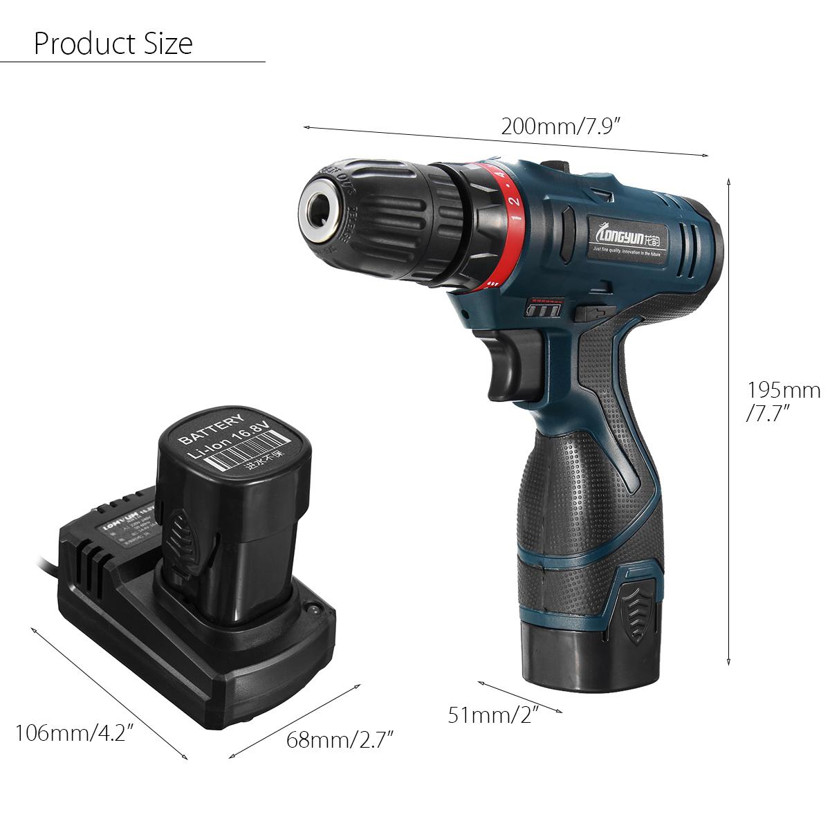 Lomvum 16.8V Electric Cordless Hammer Drill Driver Waterproof Duplex Bearing Auto Lock