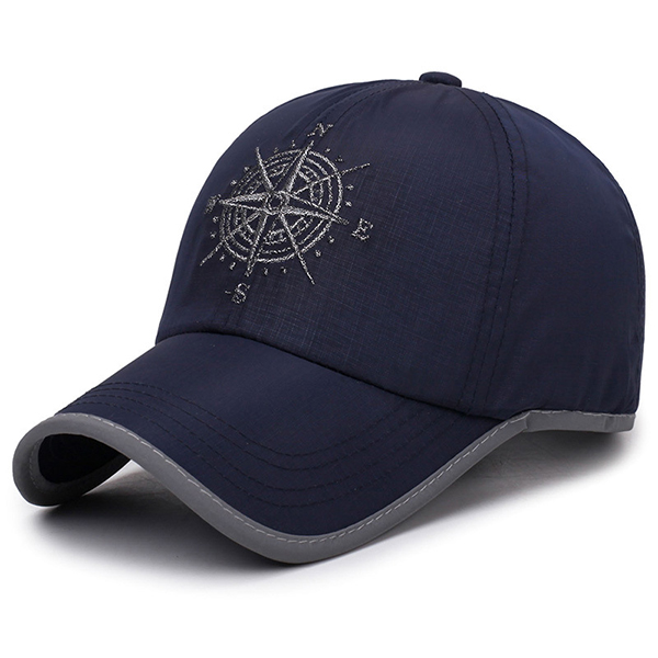 Canvas Embroidery Compass Sun Peaked Cap