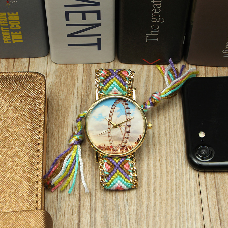 Custom Folk Style Women Watch Ferris Wheel Alloy Case Knitted Fabric Strap Casual Retro Quartz Wrist Watch