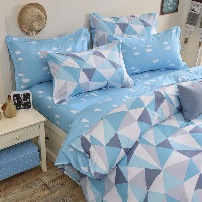 3 or 4pcs Suit Blue Geometric Pattern Reactive Dyeing Polyester Fiber Bedding Sets Twin full Queen Size