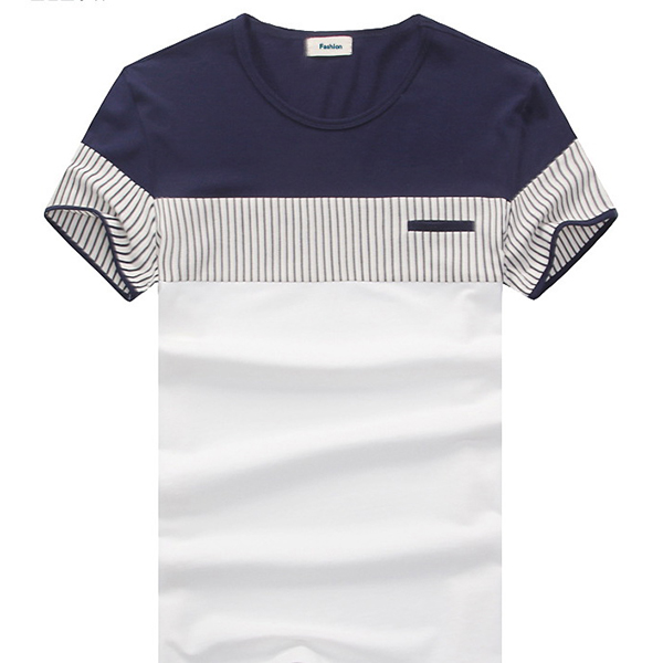 Men's Casual Stripe Short Sleeve T-Shirt Fake Pockets Round Collar Tops Tees