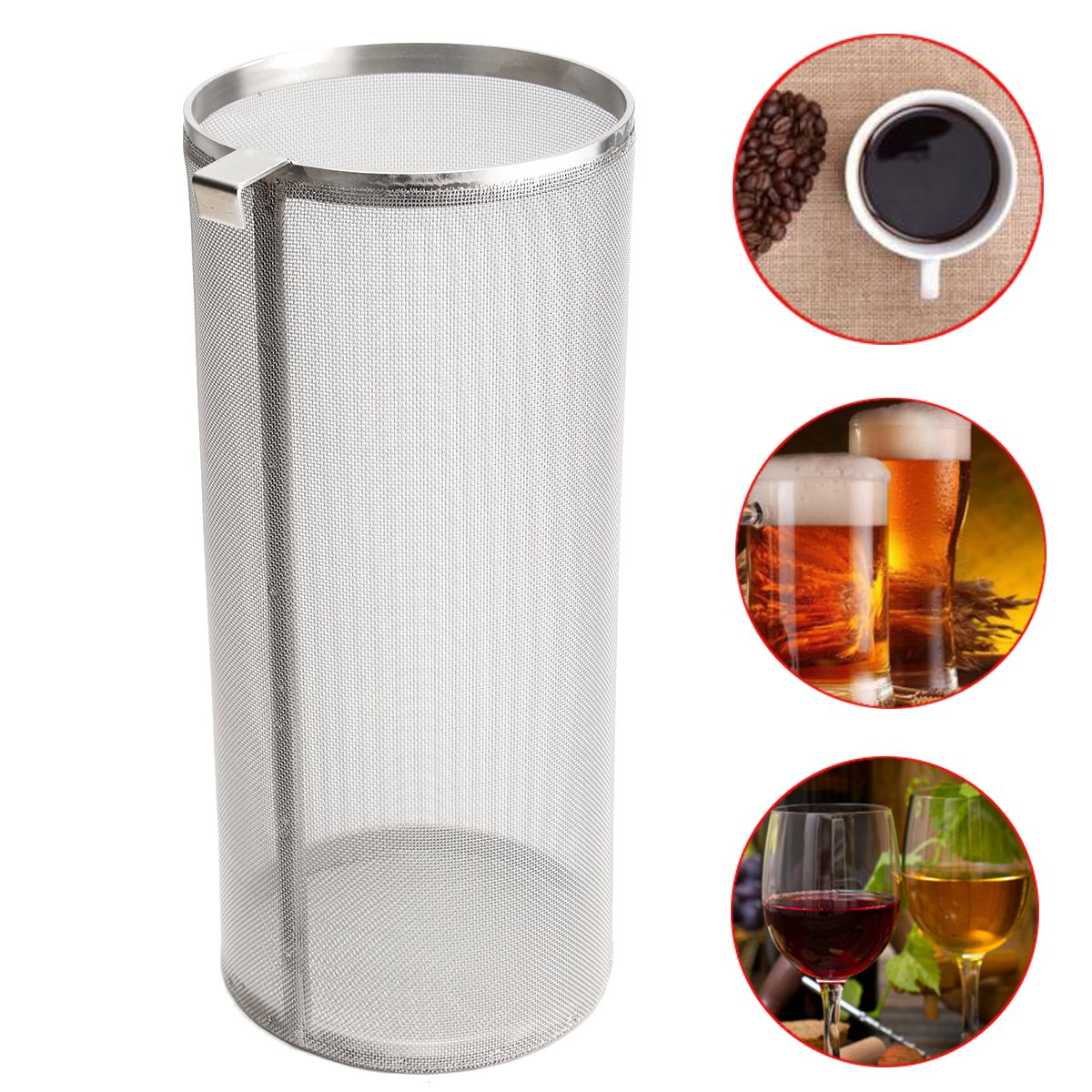 800 Micron Filter Barrel Bucket 304 Stainless Steel Mash for Wine Drink Home Brew