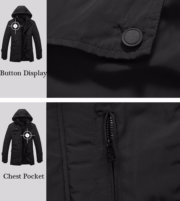 Mens Thick Fleece Hooded Detachable Jacket Fashion Casual Stand Collar Winter Black Coat
