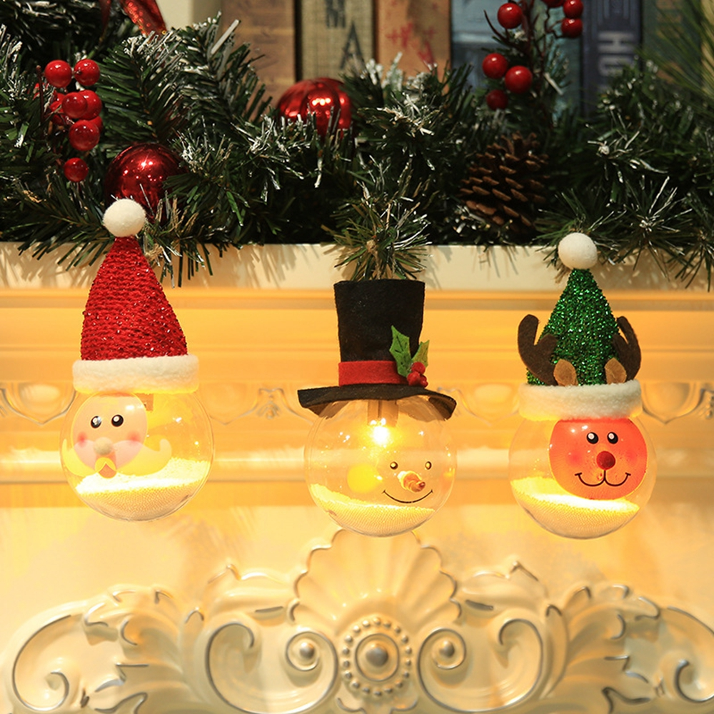 LED Hanging Santa Claus Snowman Elk Foam Particles Ball Night Light for Christmas Tree Decoration