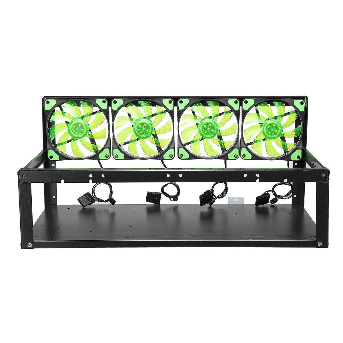 6 GPU Mining Miner Frame Open Air Rig Case + 4 Light Fans For ETH BTC Ethereum