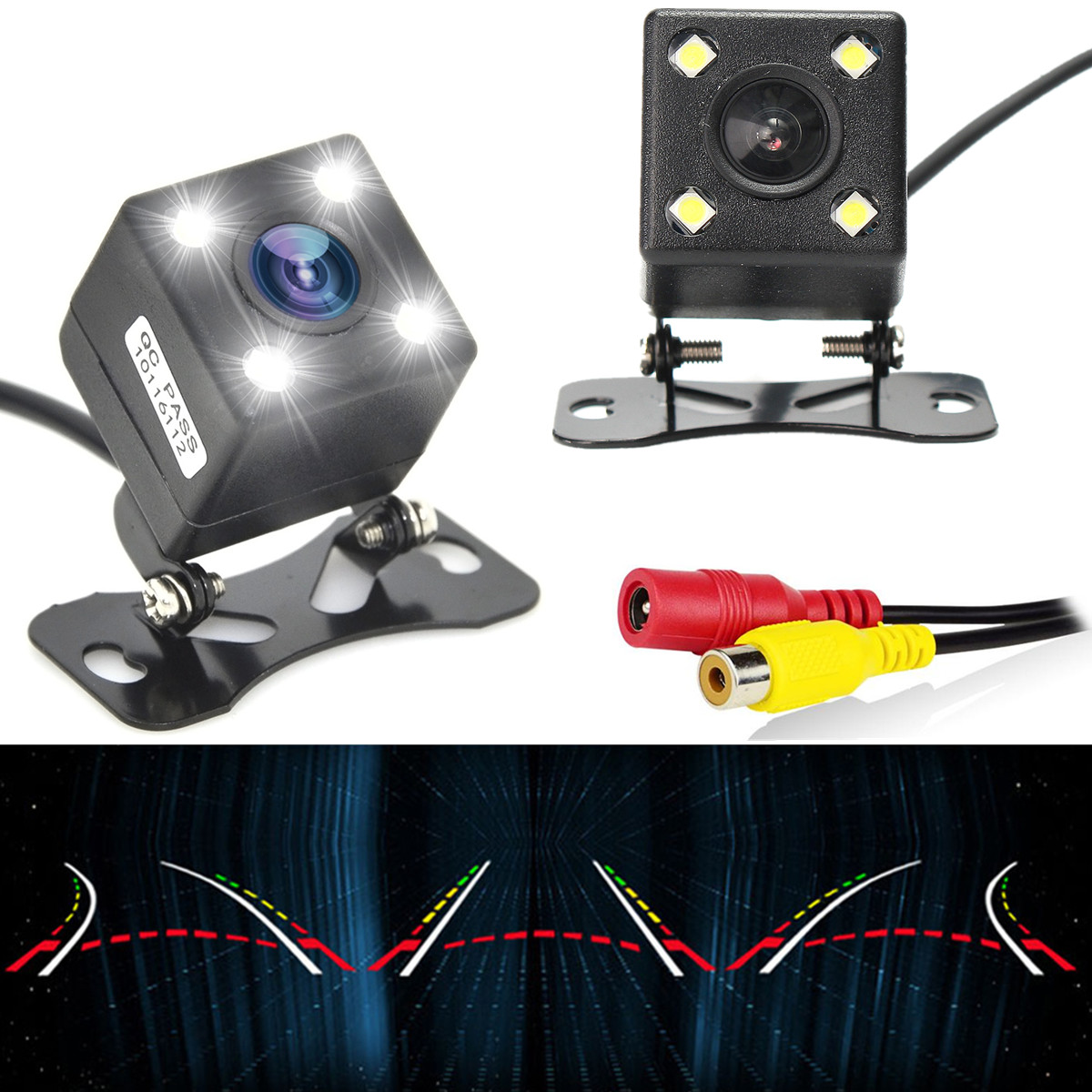 170° Waterproof 4 LED HD CCD Car Backup Rear View Reverse Camera Night Vision