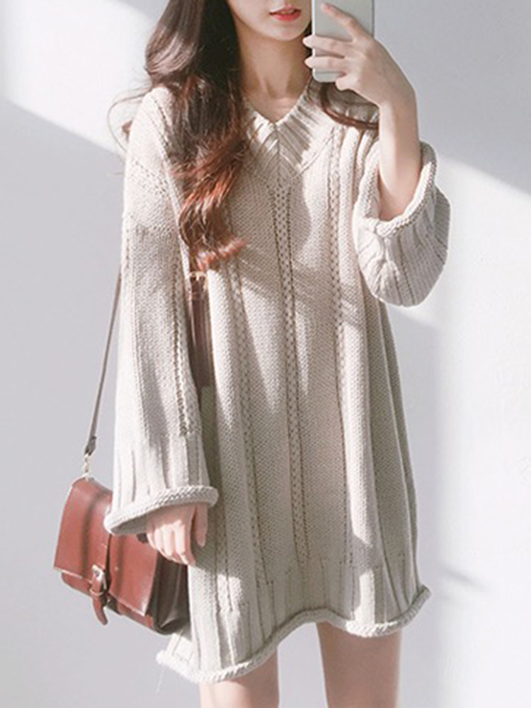 Casual Women Pure Color Loose V-Neck Sweaters