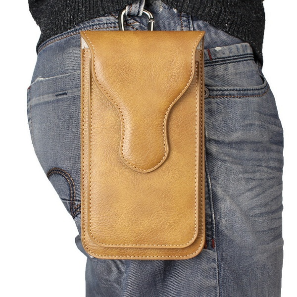 Universal PU Leather Waist Bag Suspensible Outdoor Pouch for iPhone&Samsung