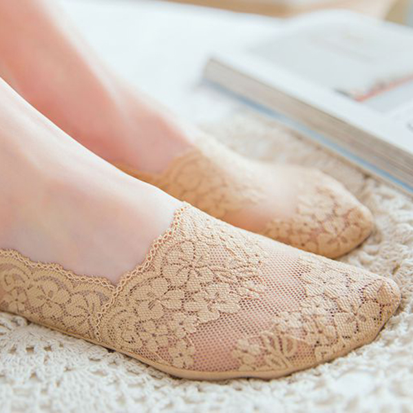 Women Girls Lace Summer Thin Breathable Invisible Boat Socks