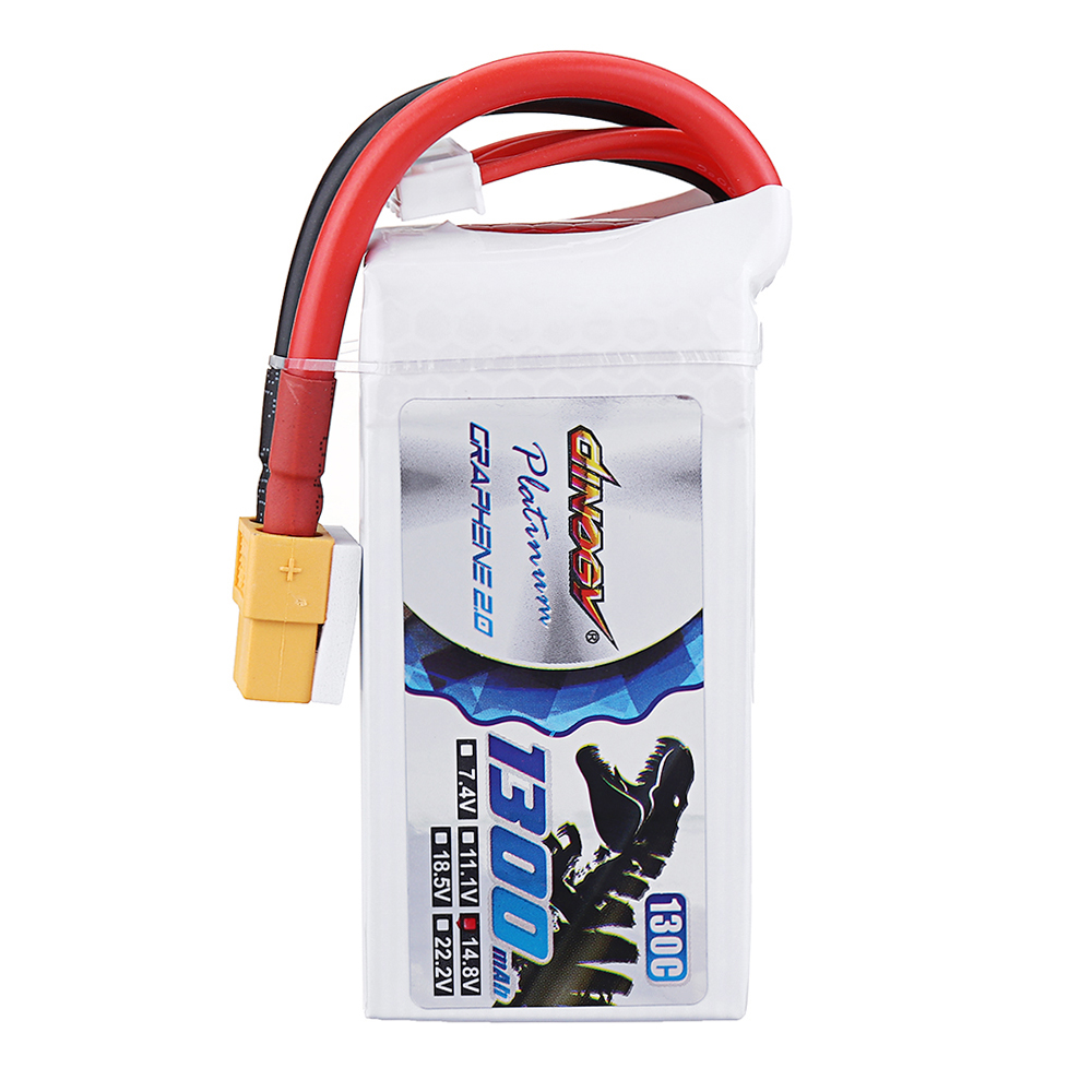DINOGY ULTRA GRAPHENE 2.0 14.8V 1300mAh 130C 4S Lipo Battery XT60 Plug for FPV RC Drone - Photo: 2