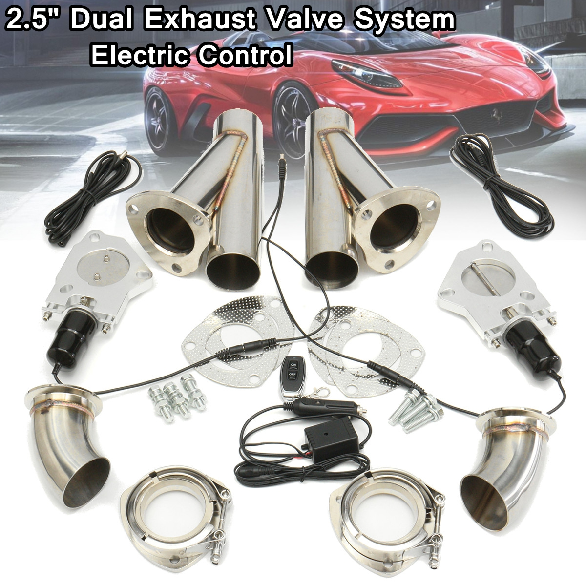 2.5 Inch 6.3mm Dual Electric Exhaust Muffler Valve System Cutout Pipe Kit with Remote Control Stainless Steel