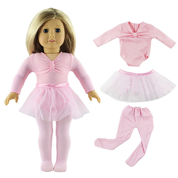 Pink Doll Ballet Dress Set Handmade Tutus Clothes For 18inch American Girl