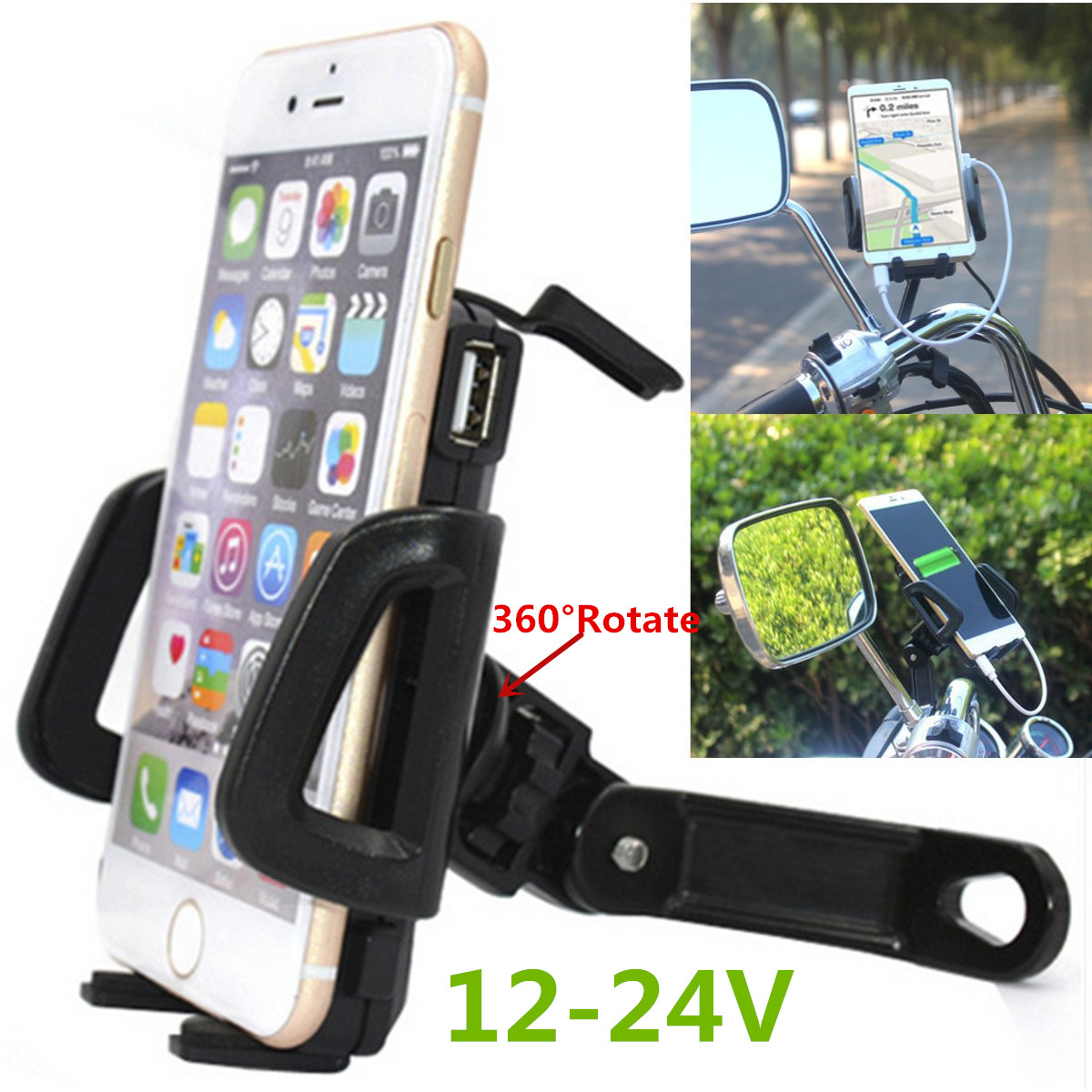 12-24V 360° Waterproof Navigation Motorcycle Mount Holder With USB Charger For 4.7-6.0 Inch Phone