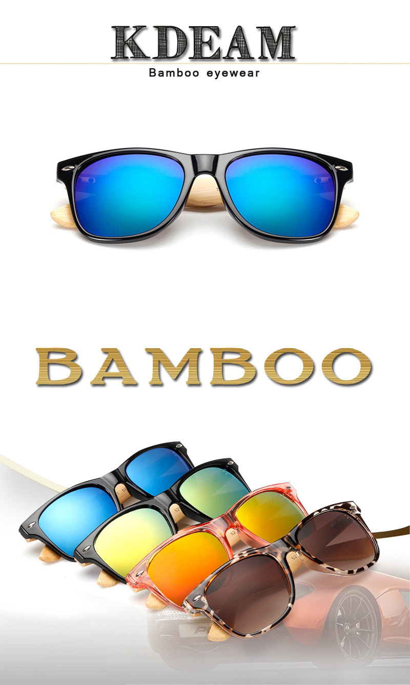 Kdeam 2140 Bamboo-etched Arms Wooden Polarized Sunglasses Retro Square Men Women Bamboo Glasses for Outdoor Outdoor Golf Running Driving