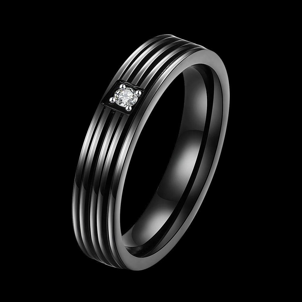 Black Zircon Stripe Simple Gift Couple Lover Love Stainless Steel Finger Ring Women Men
