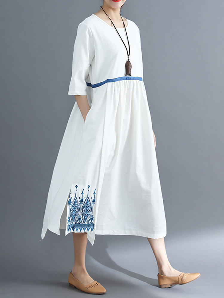 Women Embroidery Pockets Loose Dress