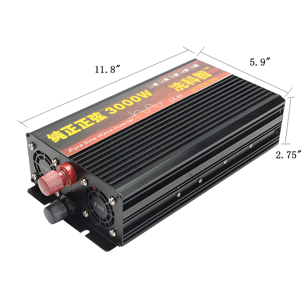 2000W/3000W/4000W Power Inverter Pure Sine Wave Transformer 12V/24V to 220V Auto