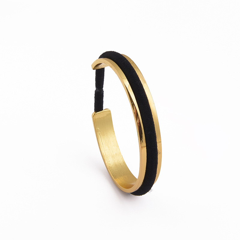 Trendy Hair Tie Bracelet Gold Silver Color Black Rope Open