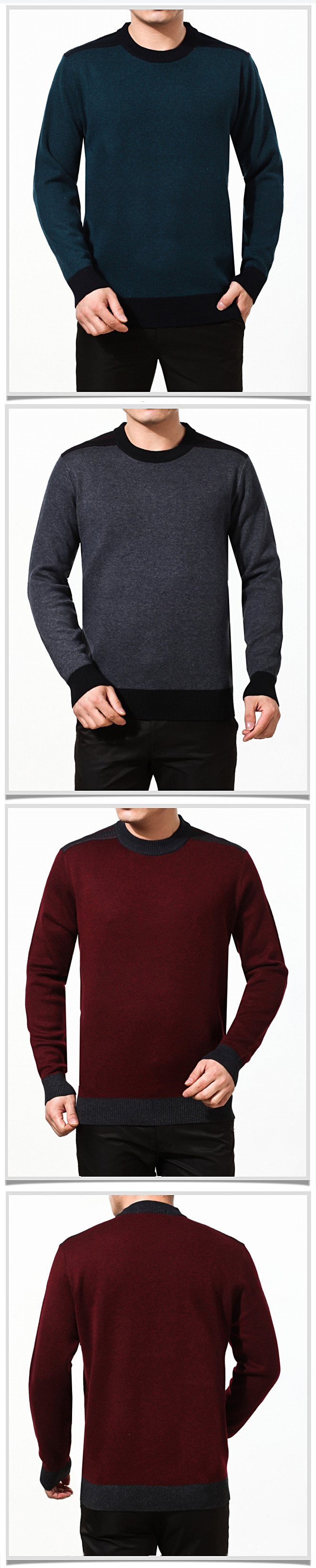 Men's Fashion Cashmere Sweater Pullovers Casual Solid Colors Crewneck Thick Pullover
